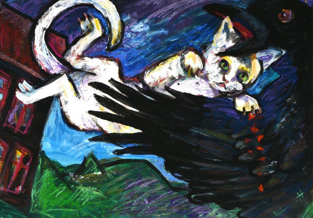 Katze und Krähe im Streit (63x94cm)